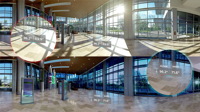 Part of the Century Link VR experience our team added graphics within the space to highlight the temperature changes.