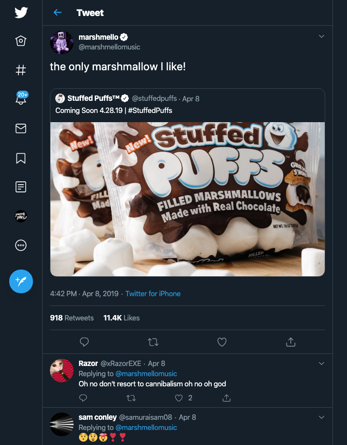 marshmello stuffed puffs