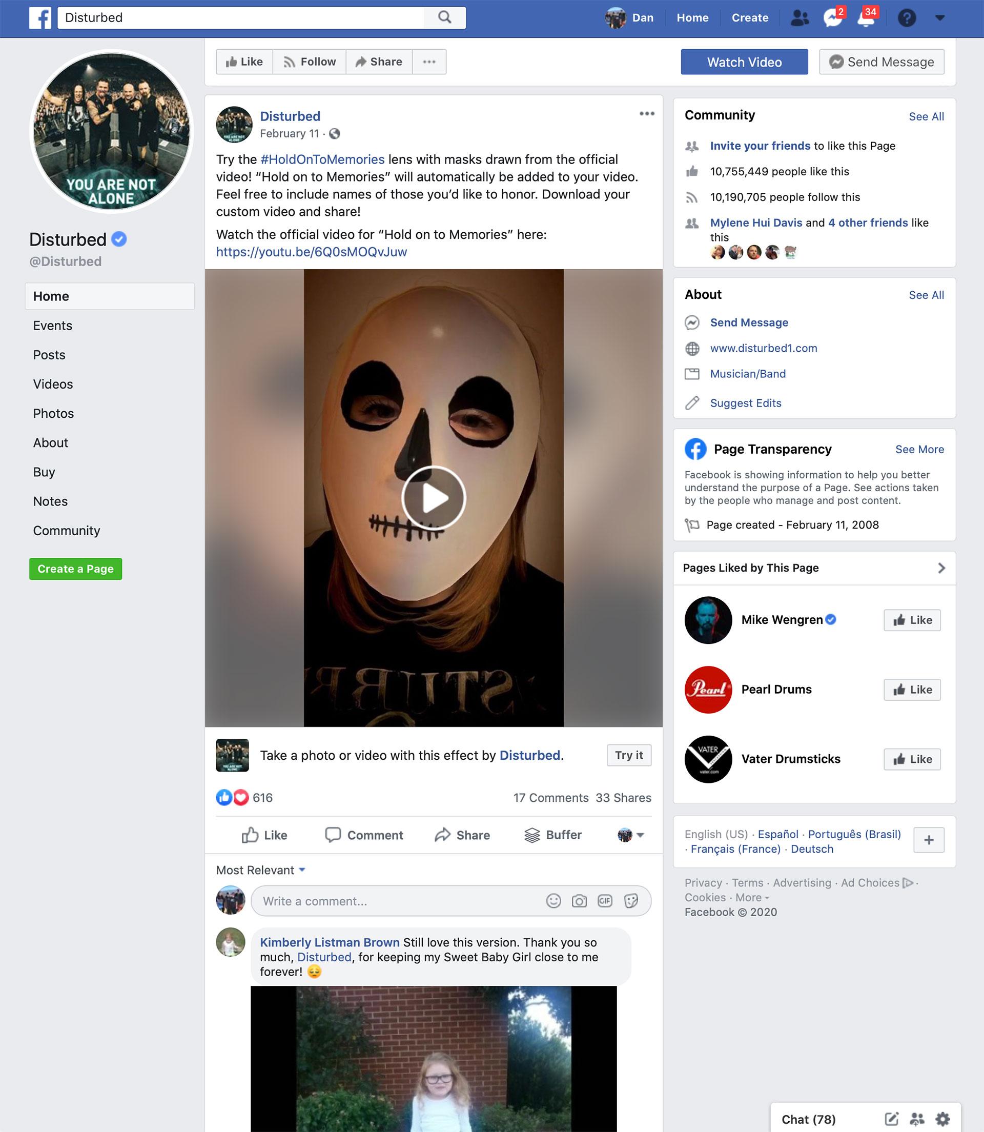 Disturbed Facebook